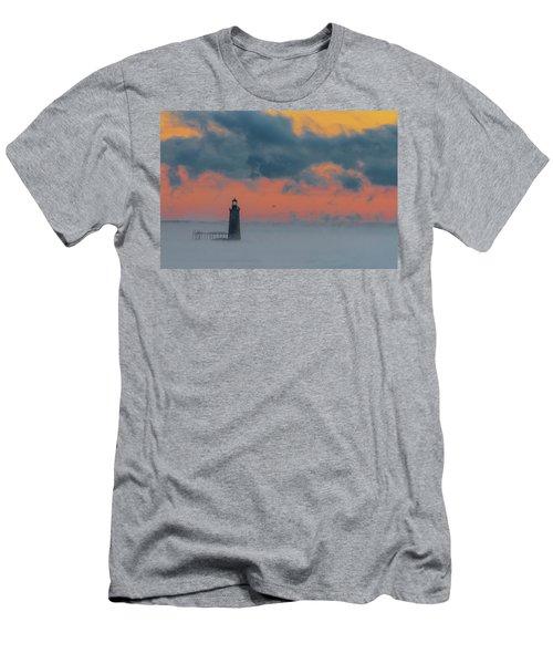 Smokey Sunrise At Ram Island Ledge Light Men's T-Shirt (Athletic Fit)
