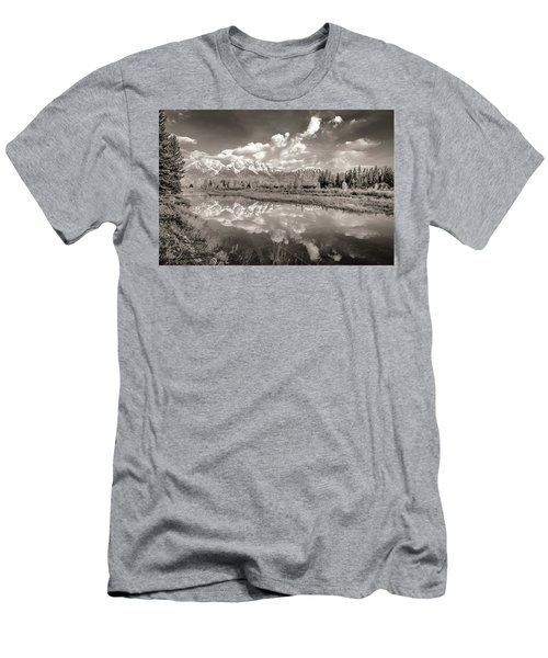Snake River Reflection Grand Teton Monochromatic Men's T-Shirt (Athletic Fit)