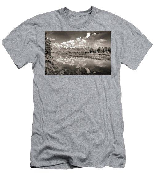 Snake River Reflection Grand Teton Monochromatic Men's T-Shirt (Athletic Fit)