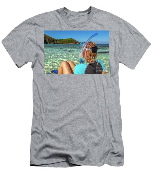 Snorkeler Relaxing On Tropical Beach Men's T-Shirt (Athletic Fit)