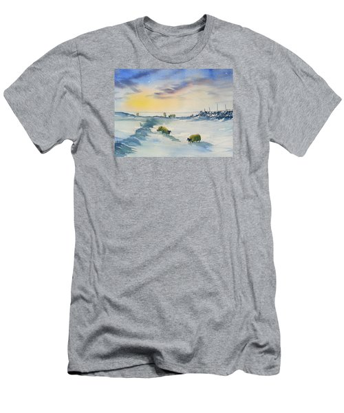 Snow And Sheep On The Moors Men's T-Shirt (Athletic Fit)