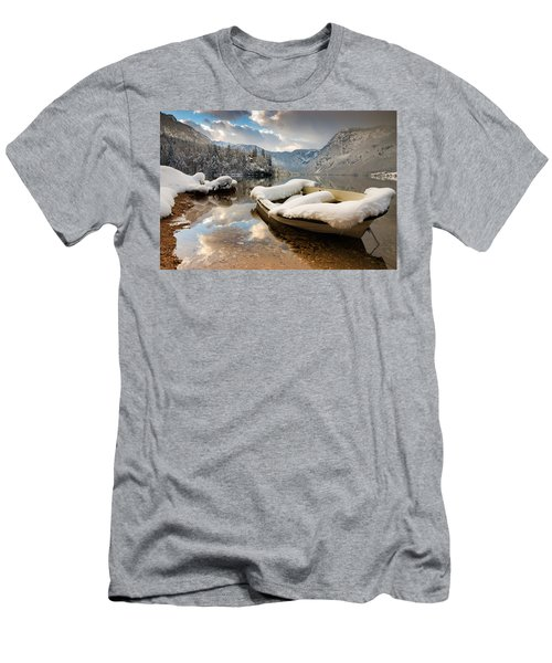 Snow Covered Boat On Lake Bohinj In Winter Men's T-Shirt (Athletic Fit)