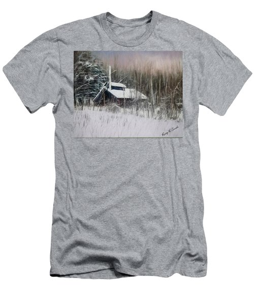 Snow Covered Vermont Sugar Shack.  Men's T-Shirt (Athletic Fit)
