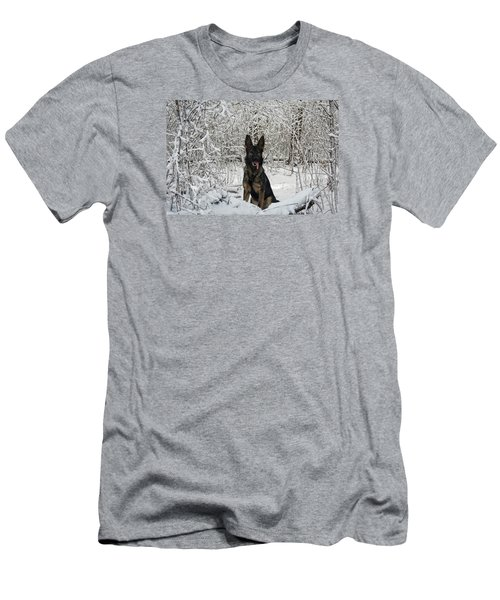 Snow Dog Men's T-Shirt (Slim Fit) by Nikki McInnes