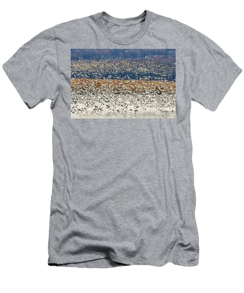 Men's T-Shirt (Slim Fit) featuring the photograph Snow Geese At Willow Point by Lois Bryan