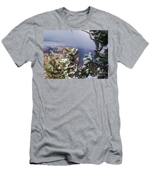 Men's T-Shirt (Slim Fit) featuring the photograph Snow In The Canyon by Roberta Byram