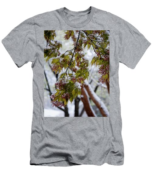 Men's T-Shirt (Slim Fit) featuring the photograph snow on the Cherry blossoms by Chris Flees