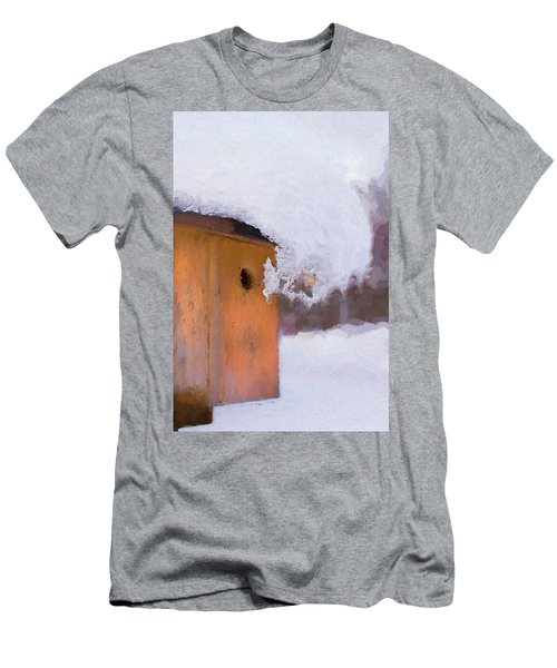 Men's T-Shirt (Athletic Fit) featuring the photograph Snowdrift On The Bluebird House by Gary Slawsky