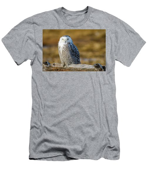 Men's T-Shirt (Athletic Fit) featuring the photograph Snowy On Log by Michael Hubley