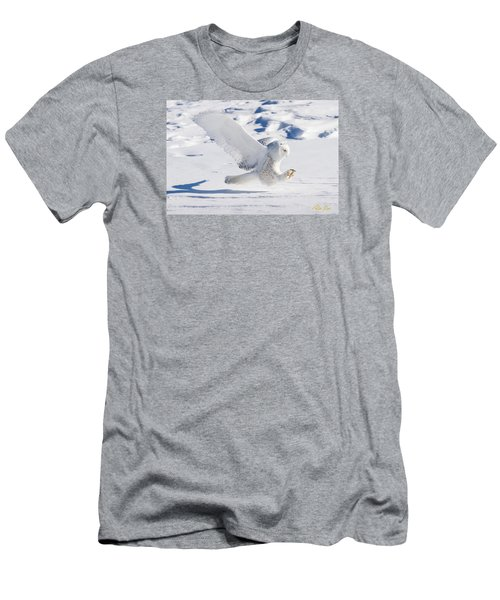 Snowy Owl Pouncing Men's T-Shirt (Slim Fit) by Rikk Flohr