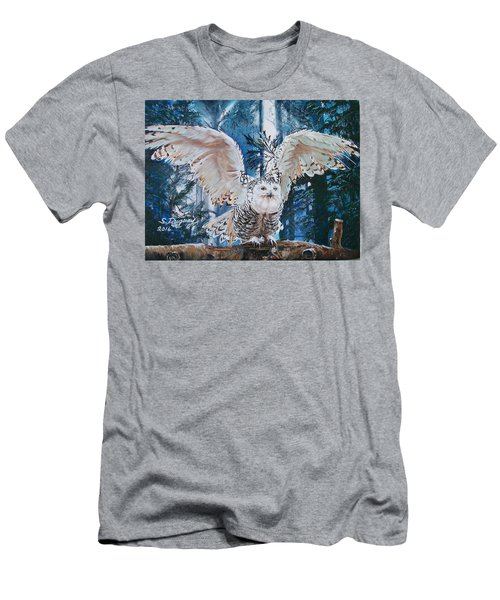 Snowy Owl On Takeoff  Men's T-Shirt (Slim Fit) by Sharon Duguay