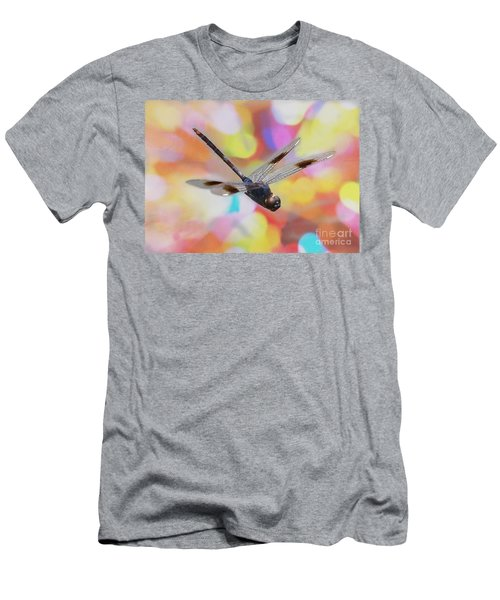 Soaring Dragonfly With Colorful Bokeh Men's T-Shirt (Athletic Fit)