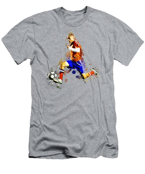 Soccer Player Moving The Ball In Stadium Men's T-Shirt (Athletic Fit)