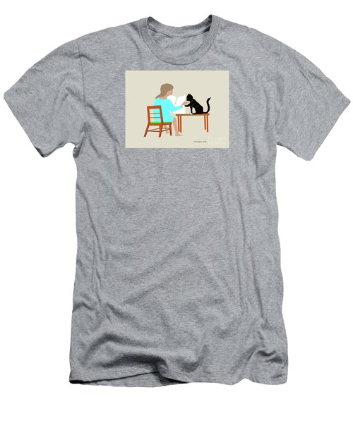Socks Reads Sunday Paper Men's T-Shirt (Slim Fit) by Fred Jinkins