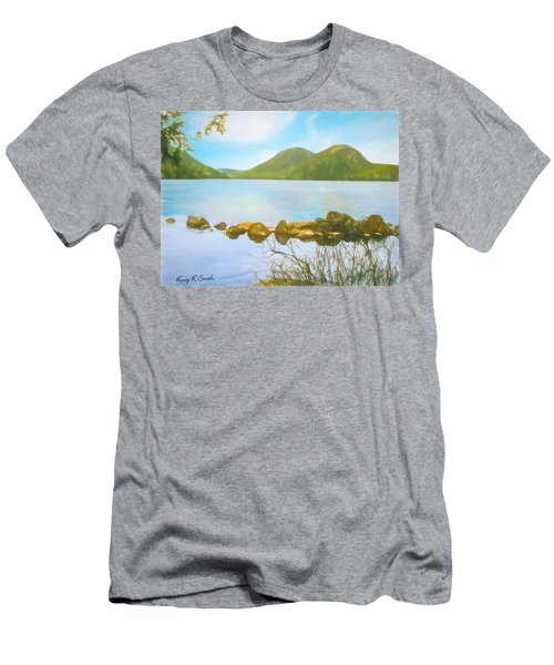 Soft Art Photograph Jordan Pond Acadia Nat. Park Maine Men's T-Shirt (Athletic Fit)