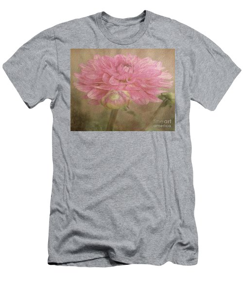 Soft Graceful Pink Painted Dahlia Men's T-Shirt (Slim Fit) by Judy Palkimas