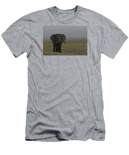 Men's T-Shirt (Slim Fit) featuring the photograph Solitary Bull Elephant by Gary Hall
