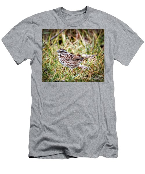 Men's T-Shirt (Athletic Fit) featuring the photograph Song Sparrow Sweetie by Kerri Farley