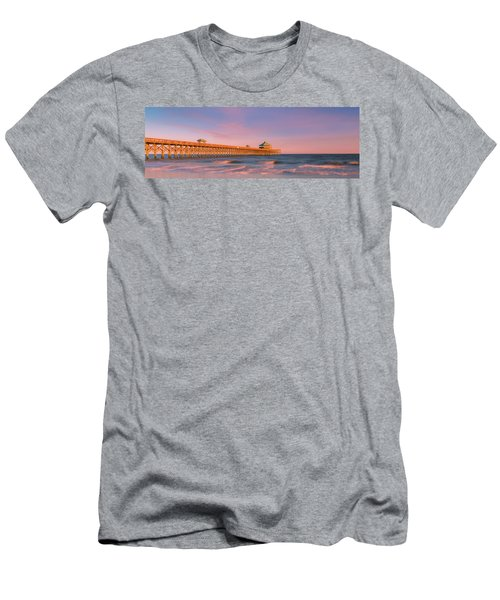 Men's T-Shirt (Athletic Fit) featuring the photograph South Carolina Fishing Pier At Sunset Panorama by Ranjay Mitra