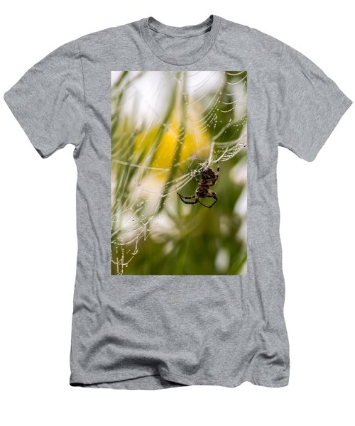 Spider And Spider Web With Dew Drops 04 Men's T-Shirt (Athletic Fit)