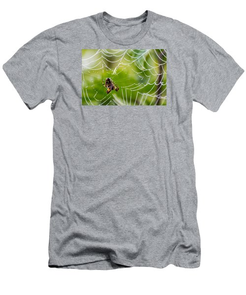 Spider And Spider Web With Dew Drops 05 Men's T-Shirt (Athletic Fit)