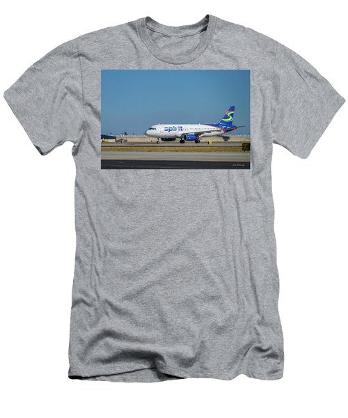 Men's T-Shirt (Slim Fit) featuring the photograph Spirit Airlines Airbus A320 N608nk Airplane Art by Reid Callaway