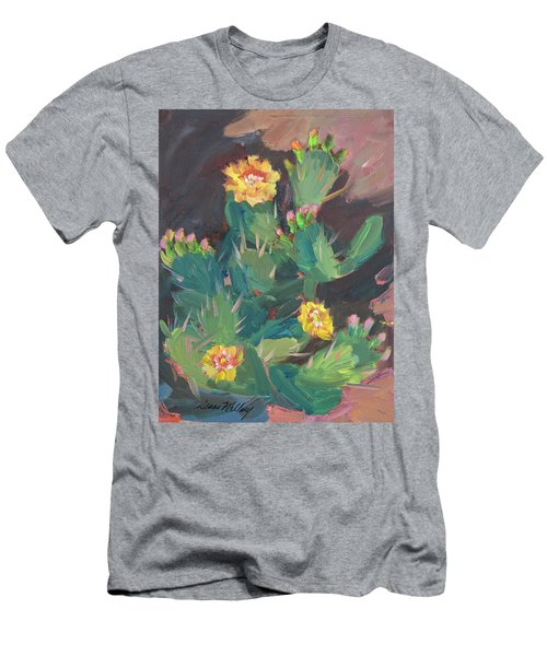Men's T-Shirt (Slim Fit) featuring the painting Spring And Prickly Burst Cactus by Diane McClary