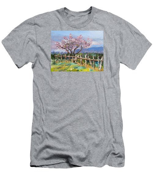 Spring Blossom Pallet Knife Painting Men's T-Shirt (Slim Fit) by Lisa Boyd