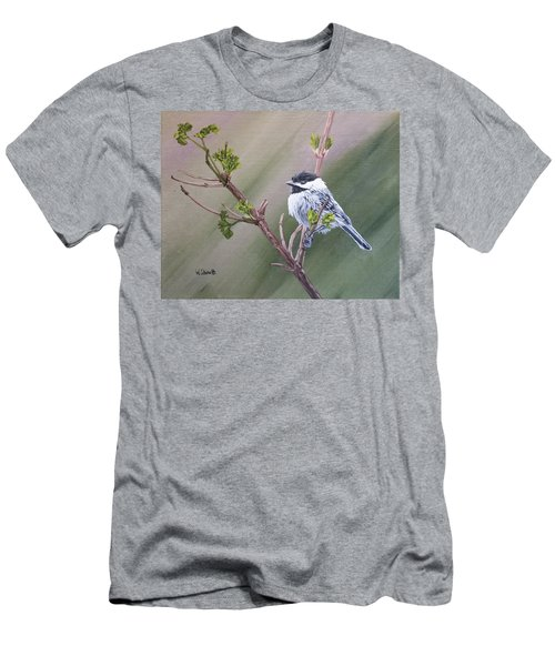 Spring Chickadee Men's T-Shirt (Slim Fit) by Wendy Shoults