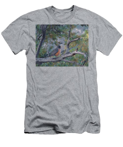 Spring Morning Robin Da Men's T-Shirt (Athletic Fit)