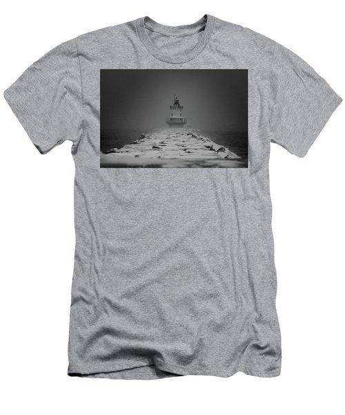 Spring Point Ledge Lighthouse Blizzard In Black N White Men's T-Shirt (Athletic Fit)