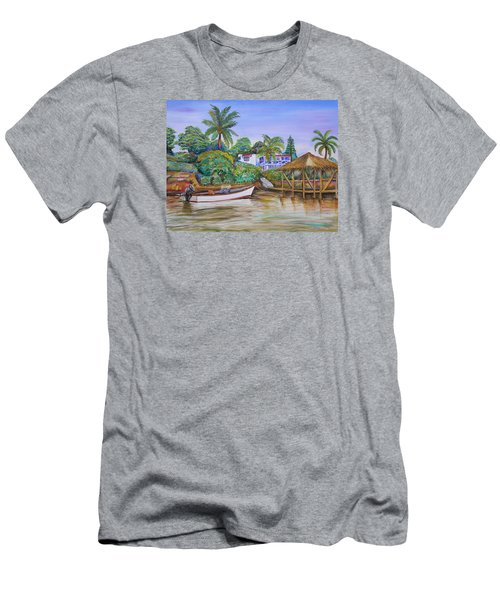 Men's T-Shirt (Slim Fit) featuring the painting St. George Harbor by Patricia Piffath