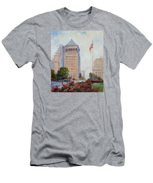 St. Louis Civil Court Building And Market Street Men's T-Shirt (Slim Fit) by Irek Szelag