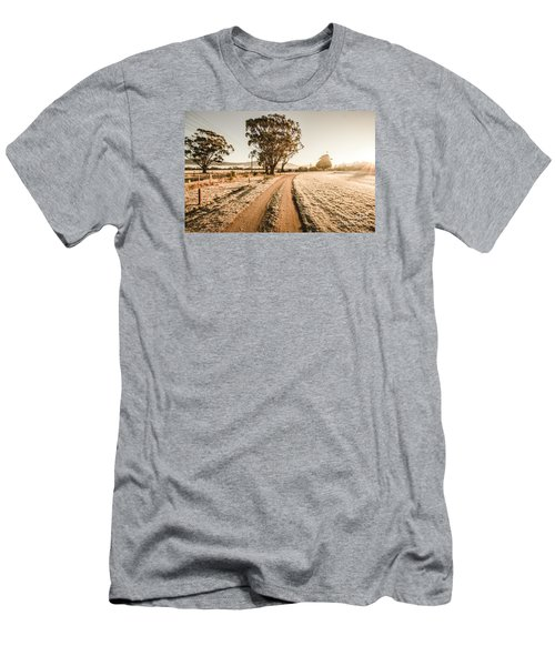 Men's T-Shirt (Athletic Fit) featuring the photograph St Marys Winter Country Road by Jorgo Photography - Wall Art Gallery