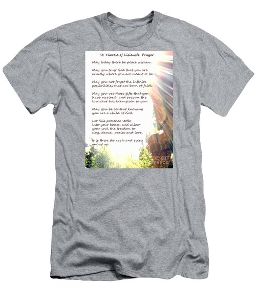 St Therese Of Lisieux Prayer And True Light Lower Emerald Pools Zion Men's T-Shirt (Slim Fit) by Heather Kirk