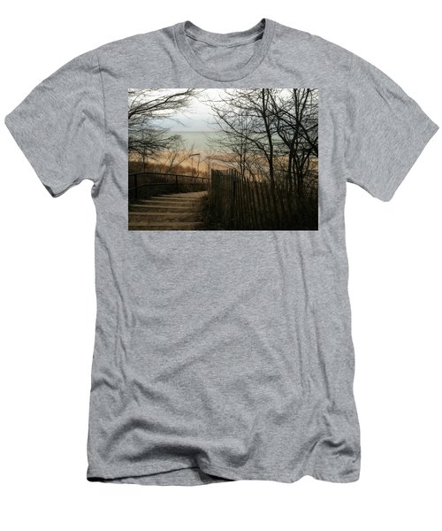 Men's T-Shirt (Athletic Fit) featuring the photograph Stairs To The Beach In Winter by Michelle Calkins