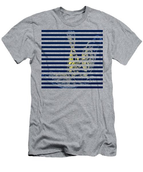 Stamped Bird With Blue Lines Men's T-Shirt (Athletic Fit)