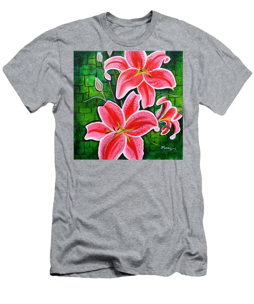 Stargazer Lilies Bold And Vibrant Floral Painting On Canvas Men's T-Shirt (Athletic Fit)