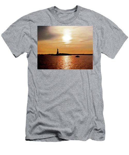 Statue Of Liberty At Sunset Men's T-Shirt (Athletic Fit)