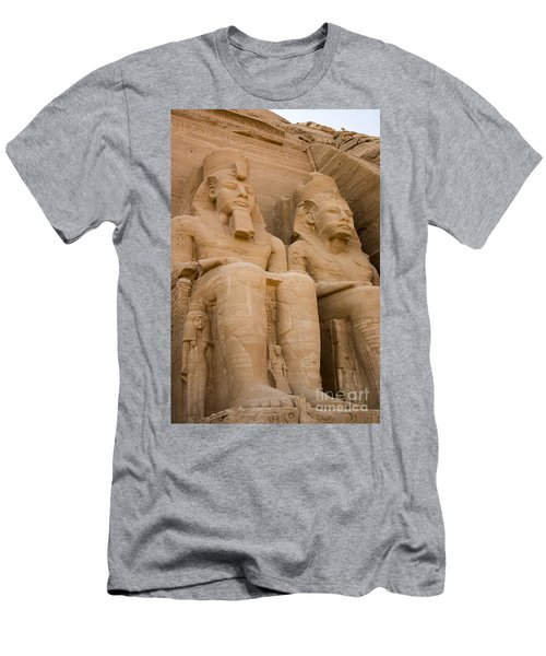 Statues At Abu Simbel Men's T-Shirt (Slim Fit) by Darcy Michaelchuk