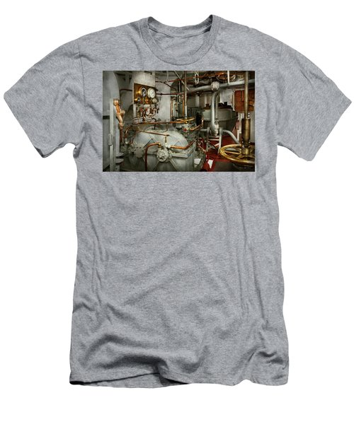 Men's T-Shirt (Athletic Fit) featuring the photograph Steampunk - In The Engine Room by Mike Savad