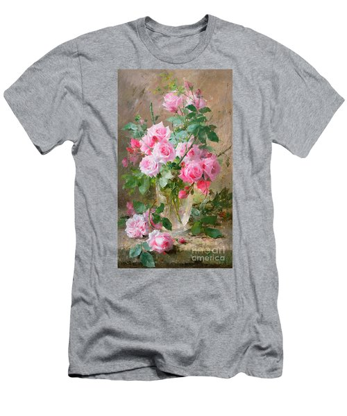 Still Life Of Roses In A Glass Vase  Men's T-Shirt (Athletic Fit)