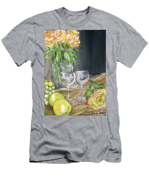 Still Life With Lemons, Roses  And Grapes. Painting Men's T-Shirt (Athletic Fit)