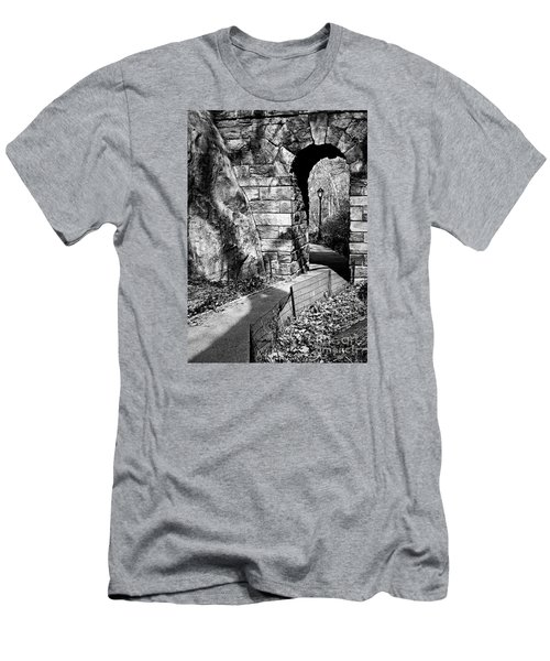 Stone Arch In The Ramble Of Central Park - Bw Men's T-Shirt (Slim Fit) by James Aiken