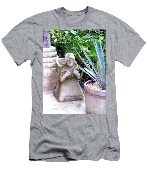 Men's T-Shirt (Athletic Fit) featuring the photograph Stone Girl With Basket And Plants by Francesca Mackenney