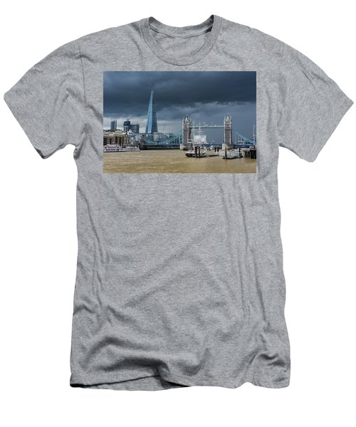 Men's T-Shirt (Athletic Fit) featuring the photograph Storm Looming Over The Shard And Tower Bridge by Gary Eason