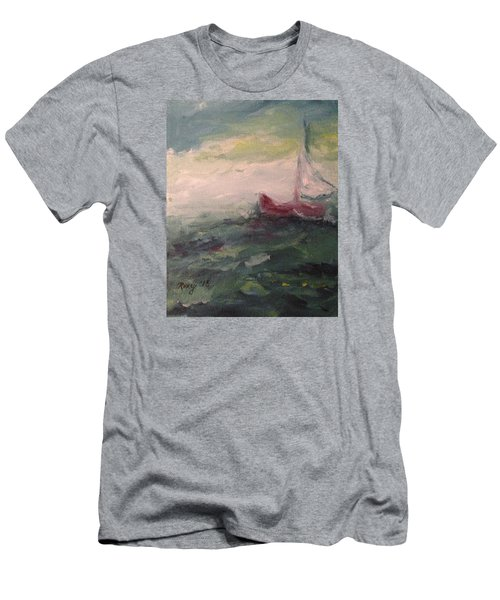 Stormy Sailboat Men's T-Shirt (Slim Fit) by Roxy Rich