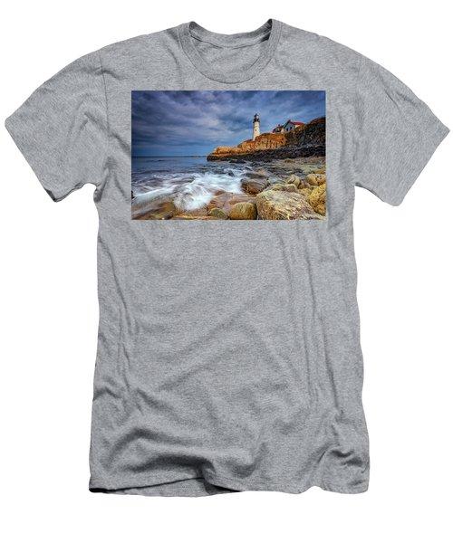 Stormy Skies At Portland Head Men's T-Shirt (Slim Fit) by Rick Berk