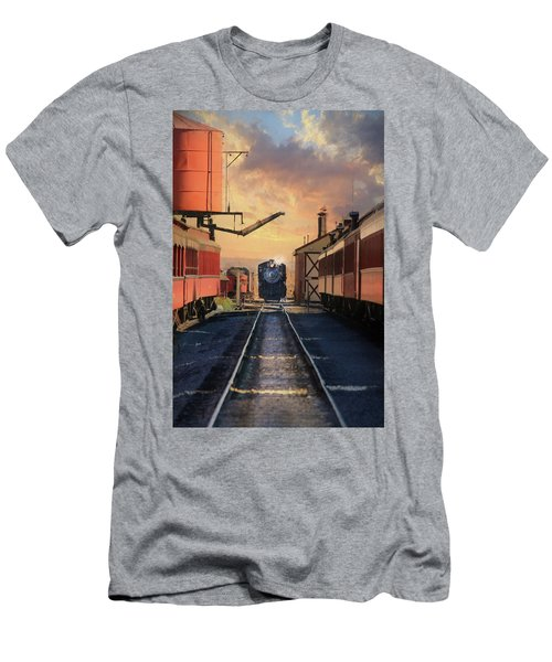 Men's T-Shirt (Slim Fit) featuring the photograph Strasburg Railroad Station by Lori Deiter