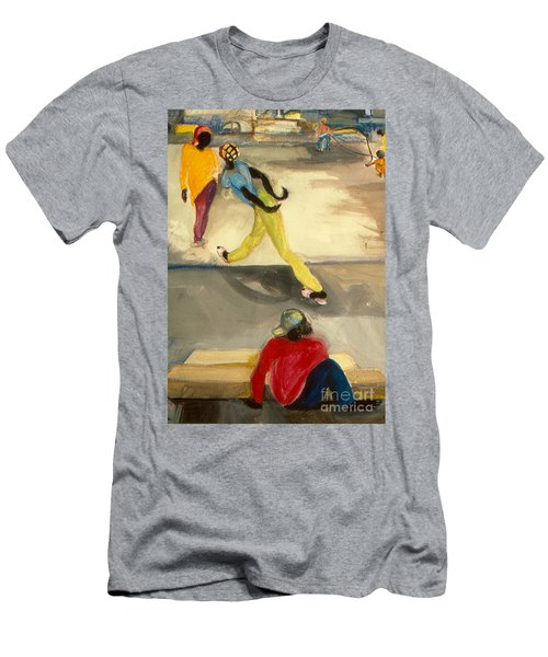 Men's T-Shirt (Slim Fit) featuring the painting Street Scene by Daun Soden-Greene